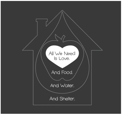 all we need is love. and food. and water. and shelter.