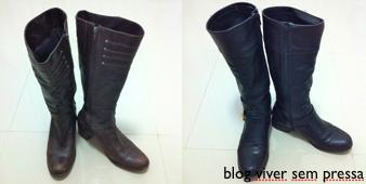 Duas botas. Uma na cor preta e outra na cor marrom.