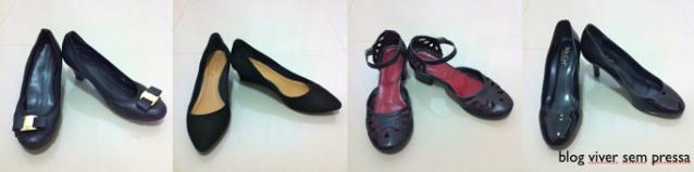 Tenho 4 sapatos pretos.