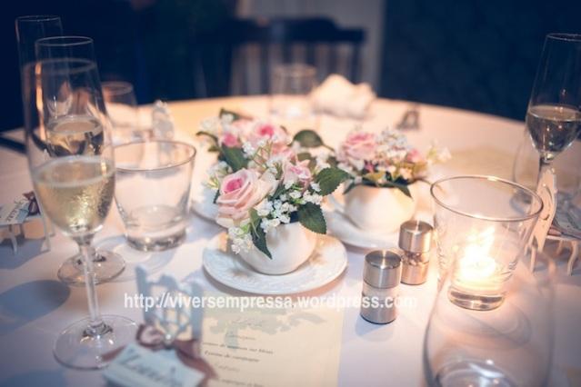 xícara com flores - decoração mesa de casamento mini wedding
