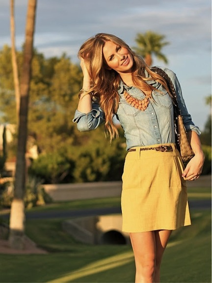 http://indulgy.com/post/WG3cV8S0J1/denim-blouse-and-yellow-skirt