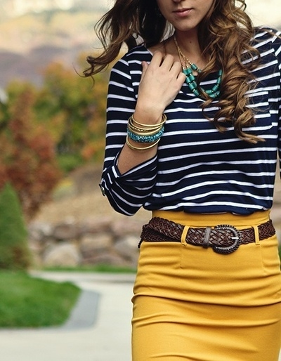 http://indulgy.com/post/knur9jQ652/yellow-skirt-with-blue-and-white-striped-top