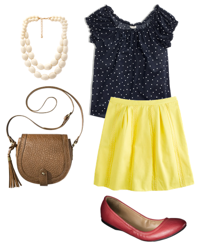 http://www.puttingmetogether.com/2014/06/mix-and-match-navy-polka-dot-top-and.html