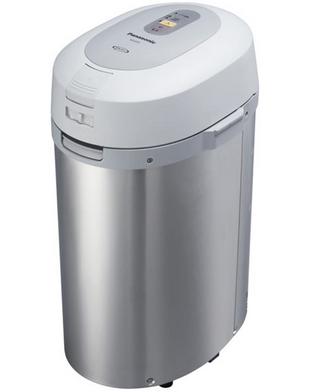 Essa é a composteira elétrica da Panasonic. Lembra muito uma lixeira pequena.